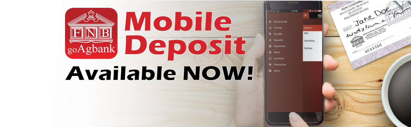 Mobile Deposit is available now! Click here for more information on how to add this feature and disclosure information. Mobile Deposit person using phone. Coffee on the table with a paper check nearby. Mobile deposit is as easy as tap. snap. deposit. Deposit checks anytime from anywhere.