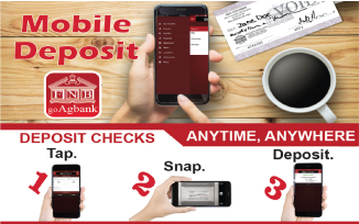 Mobile Deposit person using phone. Coffee on the table with a paper check nearby. Mobile deposit is as easy as tap. snap. deposit. Deposit checks anytime from anywhere.